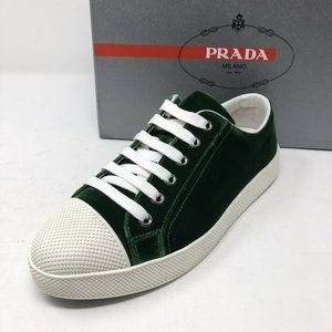 New PRADA Green White Sneakers Size 8.5